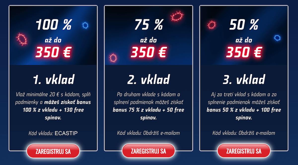 Podmienky vstupného bonusu v eTIPOS online kasíne